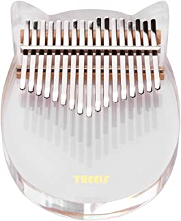 Decdeal 17 Keys Transparent Acrylic Thumb Piano Kalimba with Bag Tuning Hammer Cleaning Cloth Key Stickers Fingertip Prote...