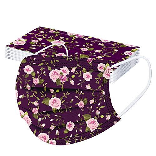 Pzhhzpingg 50Stück,mund und nasenschutz Halstücher mit motiv Blumen Tier Drucken Erwachsene Einweg Vliesstoff 3-Lagig Atmungsaktive Staubdicht Mund und Nasenschutz Halstuch für Jungen und Mädchen
