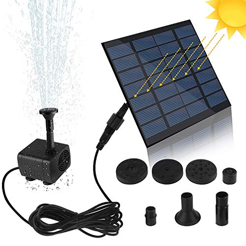 Feadem Mini Solar Fountain Pump, Solar Water Pump Power Panel Kit Submersible Brushless for Garden Water Circulation/Pond Fountain (7V 1.2W)