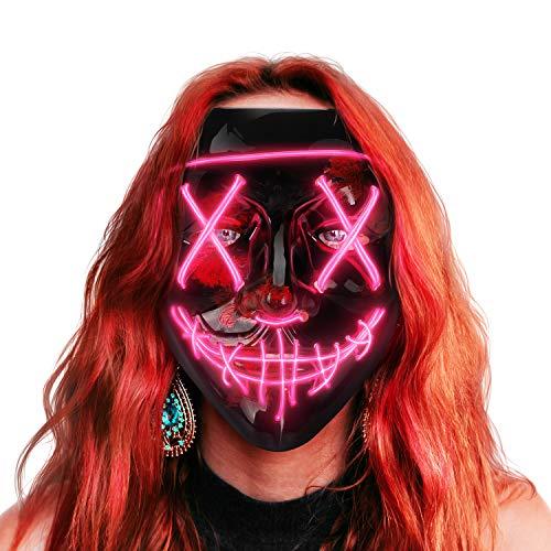 AnanBrosMascara LED Halloween, la Purga Mascara LED, Halloween Purge Mask 3 Modos de Iluminación, Brilla en la Oscuridad Mascara la Purga LED para Fiestas de Disfraces Cosplay Carnaval - Rosa
