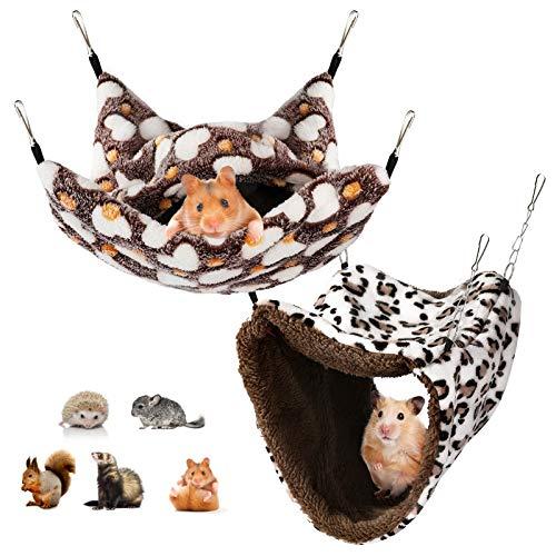 Aceshop Hamaca pequeña jaula para mascotas y saco de dormir para mascotas, hamaca para colgar animales pequeños, cama extraíble para loro, azúcar, planeador, hurón, ardilla, hámster, rata, jugando