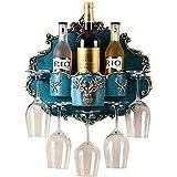 LSNLNN Estantes de Vino, Estante de Vino Montado en la Pared de Resina - Tenedor de Vidrio de la Botella de Vino Colgante - 3 Botellas Y 5 Vitrinas de Vino Bastidor de Vino, Decoración Del Hogar Esta