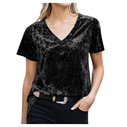 ZFQQ 2020 neues Damen Top V-Ausschnitt Kurzarm Gold Samt locker gerade T-Shirt