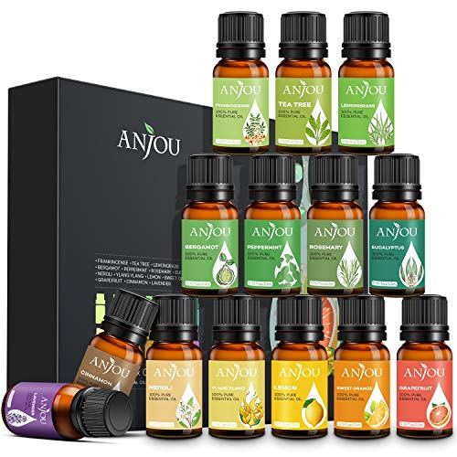 Aceites Esenciales Anjou, 100% Puro natural, 14 Aceites Esenciales de Aromaterapia (Lavanda, Eucalipto, Bergamota, Incienso, etc.) para difusor, humidificador, masaje, cuidado de piel y cabello