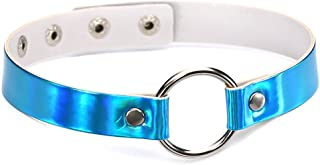 Metallic Holographic Metal O-Ring Faux Leather Chic Choker Necklace for Women