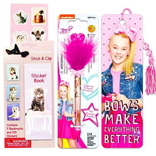 JoJo Siwa Pen School Supplies Set - Deluxe Jojo Siwa Light Up Fuzzy Pen, Bookmark, and Stickers (JoJo Siwa Merchandise)
