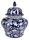 A&B Home Covered Ginger Jar, 14 by 17-Inch, Blue/White
