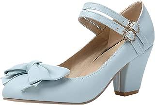 JOJONUNU Women Fashion Block Heel Pumps Bow