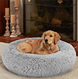 Ompaa Fluffy Round Calming Dog Beds for Medium Dogs and Cats, Super Soft Plush Pet Beds Washable, Puppy & Kitten Faux Fur Anxiety Donut Cuddler - Grey