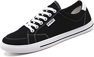 Shangruiqi Fashion Sneakers for Men Casual Skater Sports Shoes Low Top Lace Up Stitch Canvas Walking Shoes Round Toe Comfortable Anti-Wear (Color : Black, Size : 6 UK)