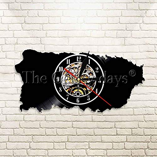 1Piece Map of Puerto Rico Wall Clock Peuto Rico Silhouette Map Vinyl Record Clock Housewarming Gift Travel