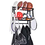Sunix Sports Equipment Storage, Ball Storage Rack Basketball Holder Wall Mount Shelf with Hooks, 2 Racks,...