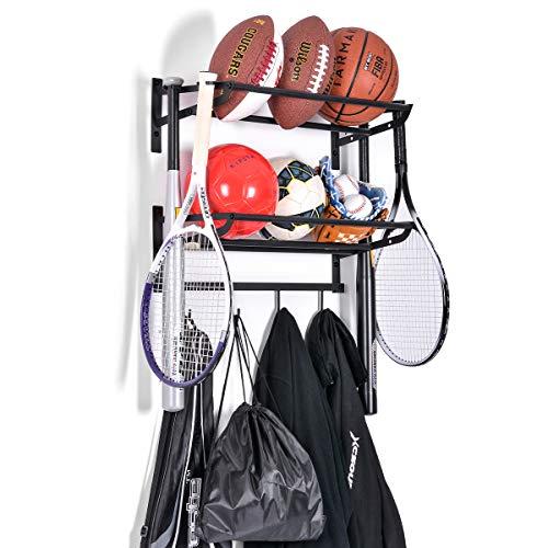 ElevenII Organizador de Equipo de 2 Niveles Ajustable para balones de Deporte, con Gancho, para Baloncesto, fútbol, Voleibol, Ejercicio, balón Medicinal (Negro)