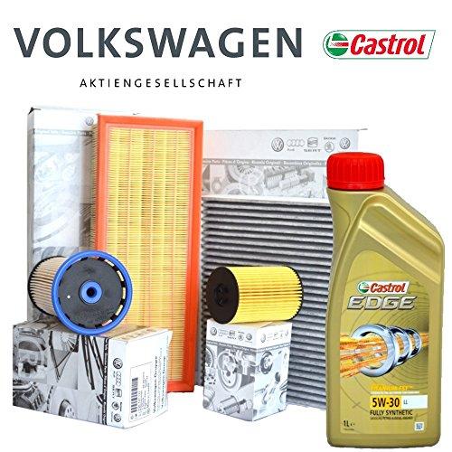 Motorolie Castrol Edge 5W30 5LT + 4 originele OE-filter (03N115562, 5Q0127177, 5Q0129620B, 5Q0819653)