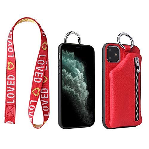 OPXZPM Hoesje voor mobiele telefoon Gsm-hoesje voor iPhone 11 Pro Portemonnee Tas Voor Apple 11Pro Dames Pocket Shell Coque Fundas, rood, Voor iPhone 11 Pro