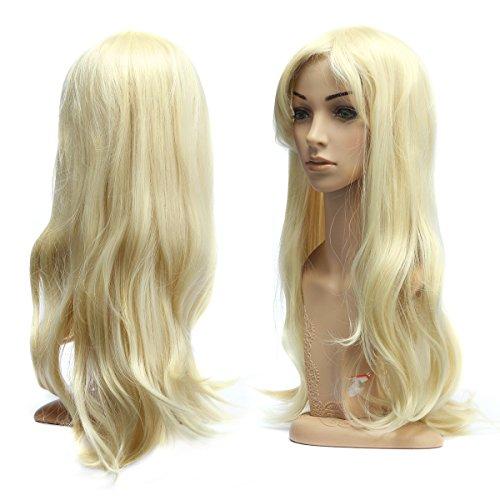 Dazone 70cm Karneval Perücke Blond. Lang Voll, Lockig Wellig Fashion Kostüme Damen Haarteil Cosplay Wig für Alltag, Party Perücke Lang,Halloween