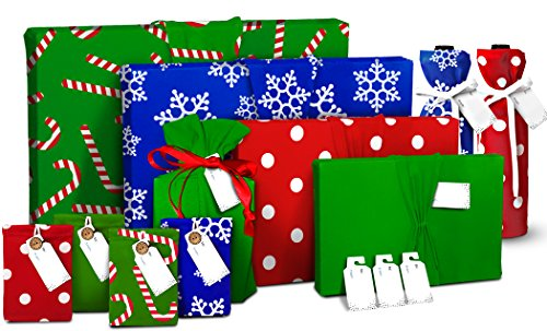 Christmas Gift Wrap |11 PC Set | - Gift Wraps, Wine Wraps, Gift Card Holders | Reusable Wrapping | Stretch Fabric & Eco Friendly, Great Idea
