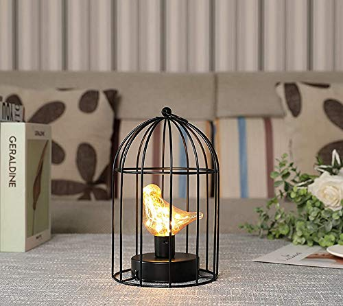 JHY DESIGN Birdcage Decorative Lamp Battery Operated 9.5' Tall Cordless Lamp with Warm White Fairy Lights Bird Bulb for Indoor Outdoor Events Parities Weddings (Black)