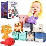 Baby weich Bausteine Meeresflora Blöcke Montessori Spielzeug ab 6 Monate zum Sortieren und Stapeln, Süße Tieren Badewannenspielzeug gut für Baby zum Beißen