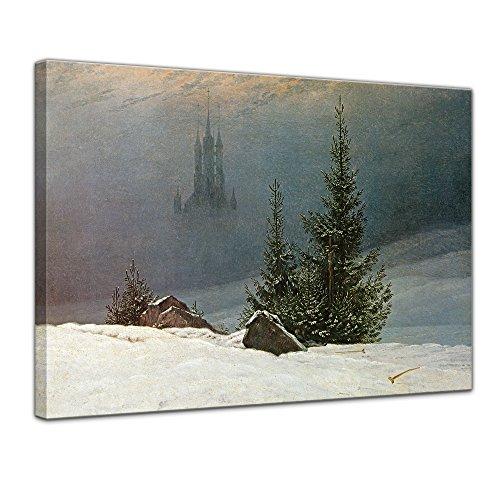 Leinwandbild Caspar David Friedrich Winterlandschaft mit Kirche - 80x60cm quer - Wandbild Alte Meister Kunstdruck Bild auf Leinwand Berühmte Gemälde