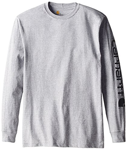 Carhartt Men's Signature Sleeve Logo Long Sleeve T-Shirt Original Fit,Heather Grey,Large