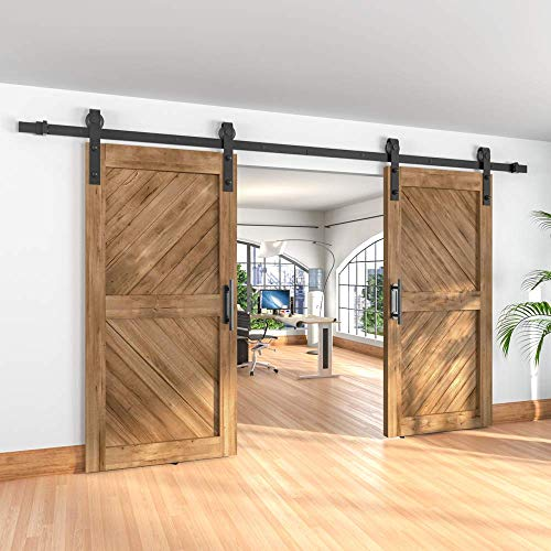 "Winsoon 5-18FT Sliding Barn Wood Door Hardware Cabinet Closet Kit Antique Style for Double Doors Black Surface (11FT /132"" 2 Doors Track Kit)"