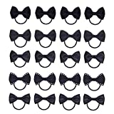 KOONY Baby Girls Bow Hair Tie Elastic Rubber Bands Ponytail Holder Mini Hair Accessories 20pc/set (Black)