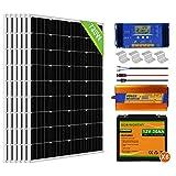 ECO-WORTHY Kit de panel solar de 720 W para panel de desagüe de 3000 W puro inversor de sino + 6 piezas 120 W panel solar de + 20 A controlador de cargador de batería para el hogar