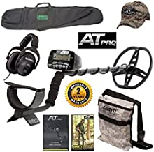 Garrett AT Pro Metal Detector, All Purpose Detector Carry Bag, Camo Digger's Pouch, At Pro Cap, and MS-2 Headphones