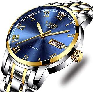 Reloj de pulsera analógico de cuarzo para hombre, de acero completo, de lujo, resistente al agua, con fecha de negocio.