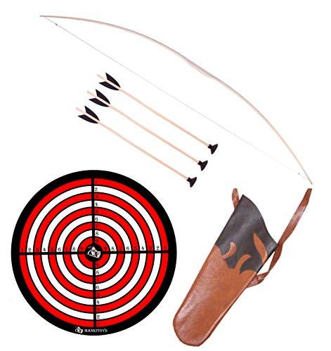 MankiToys El juego de arco infantil incluye arco infantil de madera de 120 cm con carcaj, 3 flechas con ventosa y diana, arco para niños a partir de 5, tiro con arco (120 cm).
