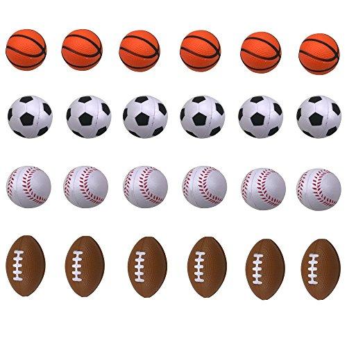 Mini Foam Sports Ball for Kids, Mini Soccer Ball,Basketball, Football, Baseball 24 Counts by SHXSTORE