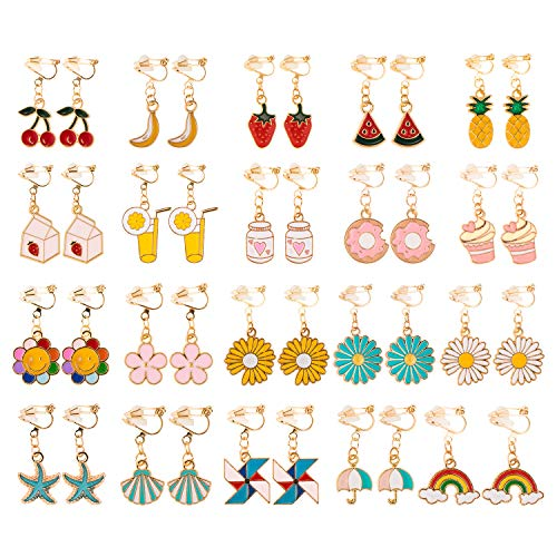 Whaline 20 Pairs Girls Clip-on Earrings Cute Clip No Pierced Design Summer & Fruit Style Jewellery Accessories Set Dessert Drink Flower Seaside Earring Dress Up Party Favors for Girl Kids Women