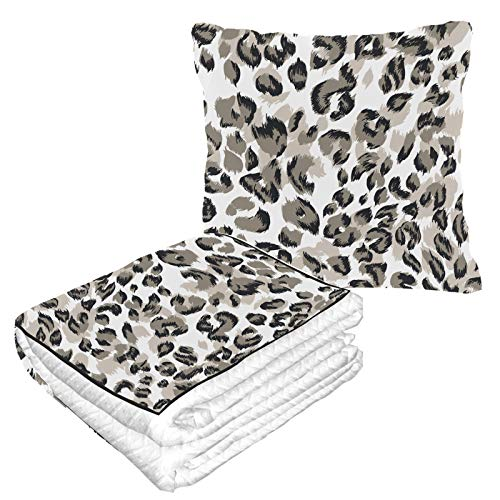 Well Traveled Funny Zebra Leopard Print Art Pillow Blanket Combo 50×60.23inch Warm Soft 2-in-1 Combo Travel Pillow Blanket Combo Camping,car Trips Travel Pillow With Blanket Inside For Any Travel