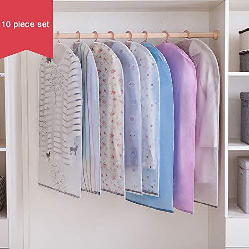 HYDD Kledinghoezen, 10 stuks, stofdicht, transparant, waterdicht PEVA-materiaal, herbruikbaar en opvouwbaar, voor roking, jas, rokken en andere (60 x 110 cm)