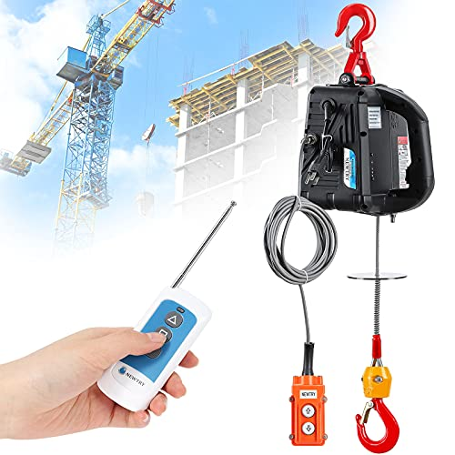 NEWTRY 3 in 1 Electric Hoist Winch 1,100lb Wireless Remote Control, Cable Remote Control, 110/120 Volt Portable Power Electric Hoist, Vertically & Horizontally, Lift 16ft/min