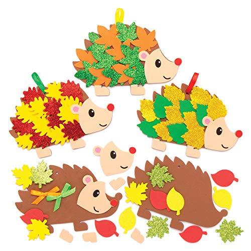 Baker Ross AX163 Igel Deko Anhänger Bastelset für Kinder - 5 Stück, Kreative Weihnachtskunst und Bastelbedarf für Kinder zum Basteln und Dekorieren
