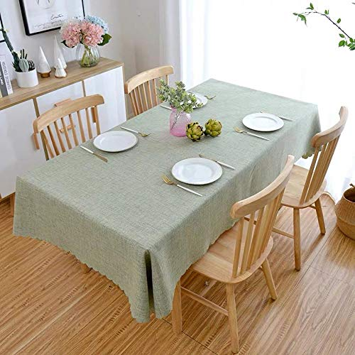 YuHengJin Oblong Simple Style Patterned Table Cloths Anti Scalding Cotton and Linen Table Cloth for Dining Kitchen Party Table Covers Green 140×200cm
