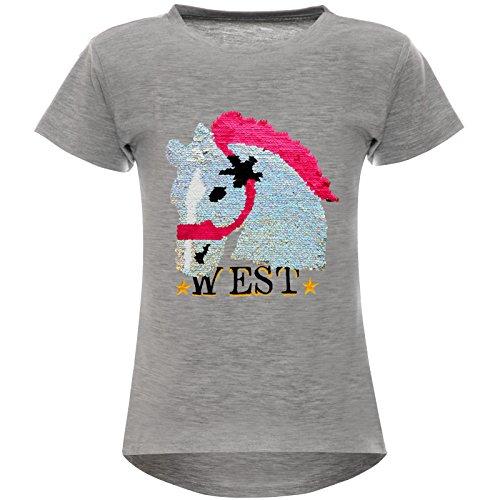 Mädchen Wende-Pailletten T-Shirt Pferd Motiv 22604 Grau Größe 116