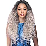 Long Curly Lace Wig for Women Ombre Wigs Dark Roots Silver Grey Wig Synthetic Middle Part Wig Curly Wave Natural Looking Wigs for Daily Party Use