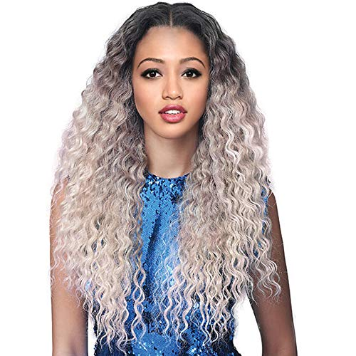 Long Curly Wig for Women Long Ombre Wigs Dark Roots Silver Grey Wig Synthetic Middle Part Wig Curly Wave Natural Looking Wigs for Daily Party Use