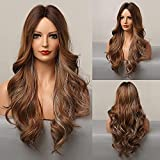 Peluca ondulada larga HAIRCUBE para mujer pelucas onduladas rizadas sintéticas parte media pelucas de repuesto de cabello de Color marrón oscuro para uso diario
