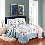 WDXN Gesteppt Tagesdecke Patchwork Baumwolle Waschbare, Lichtechte Tagesdecke, Botanisches Blumendruck-Design Mit 2 KissenbezüGen,230 * 250cm