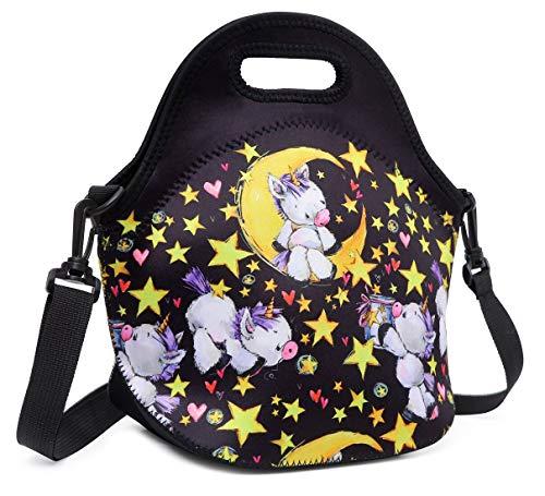 Debbieicy Cute Unicorn Lunch Bag with Adjustable Strap Tote Bag Shoulder Bags for Preschool Kindergarten Elementary Girls Black Unicorn