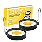 POTALL Egg Ring Set For Frying Or Shaping Eggs, Round Egg Cooker Rings For Cooking, Stainless Steel Non Stick Mold Shaper Circles For Fried Egg McMuffin Sandwiches, Egg Maker Molds (2 Pack)