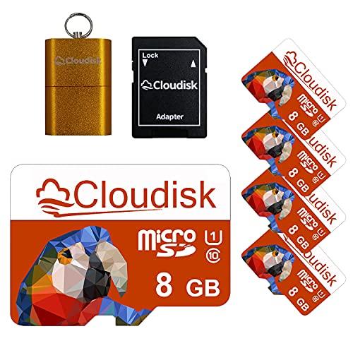 Cloudisk 5pack Parrot-Prime 8GB micro SD TF della scheda di memoria UHS Full Record HD con adattatore MicroSD + Card Reader