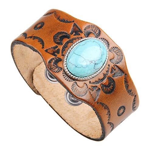 Lederarmband - Manschettenarmband handgeschnitzt mit Türkis - Einstellbare Größe und angenehm zu tragen.