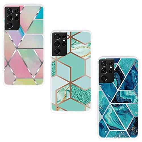 ChoosEU Compatible con Funda Samsung Galaxy S21 Ultra 5G Silicona TPU Case Antigolpes Bumper Cover Caso Protección, Dibujos Mármol Creativa Carcasas para Chicas Mujer Hombre - Combinación G