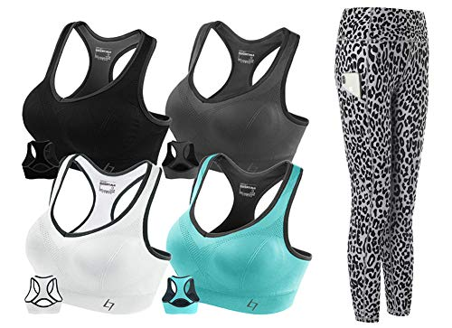 FITTIN Activewear Sets with Racerback Sports Bras for Women 4 Packs M   Leopard Printed Yoga Leggings for Women with Pocket Grey M