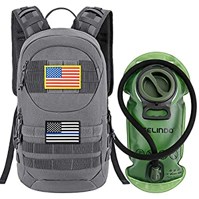 Gelindo Tactical Hydration Backpack, Military Lightweight Backpacks MOLLE Pack 900D with 2L Hydration Bladder, Small Tactical Assault Pack for Hiking Biking Running Climbing Outdoor Travel, Grey